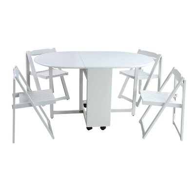 Saviour 5 Piece Dining Set Finish: White