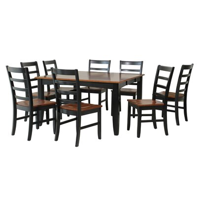 Wabasca 9 Piece Dining Set Finish: Black / Saddle Brown