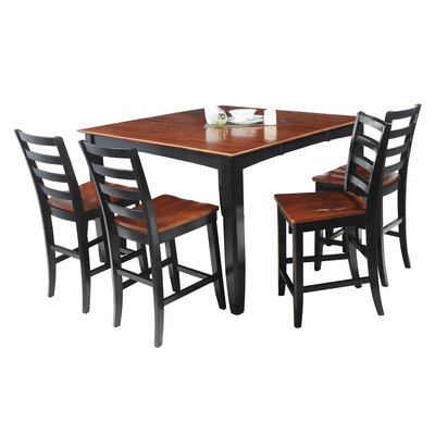 Ryley 5 Piece Counter Height Dining Set Finish: Black / Saddle Brown
