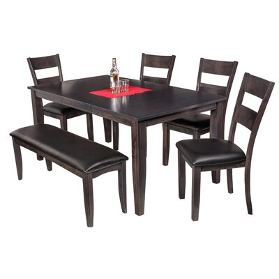 Aden 6 Piece Dining Set Finish: Dark Gray