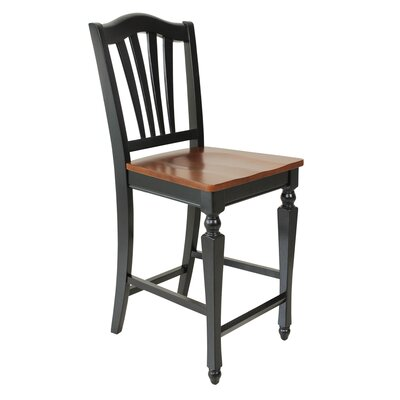 Counter Height Side Chair (Set of 2) Finish: Black / Saddle Brown