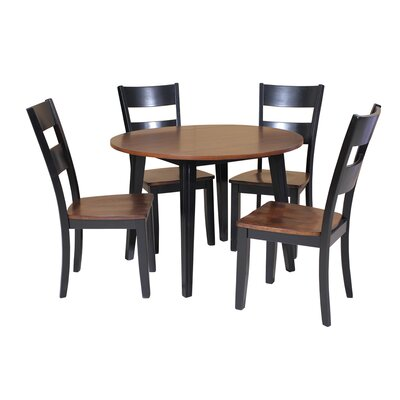 Caroline 5 Piece Dining Set Finish: Distressed Light Cherry/Black