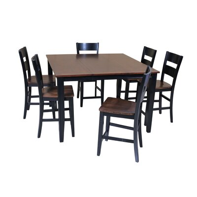 Blairmore 7 Piece Counter Height Dining Set Finish: Cherry/Black