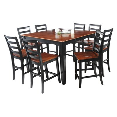 Ryley 9 Piece Counter Height Dining Set Finish: Black / Saddle Brown