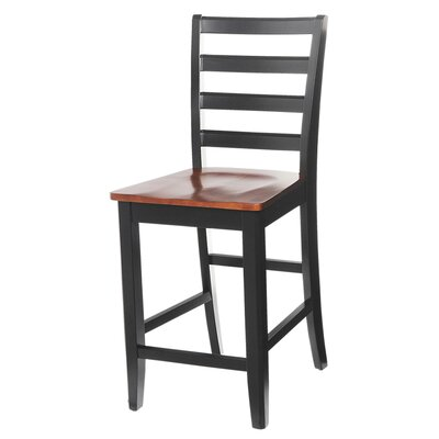 Solid Wood Dining Chair (Set of 2) Finish: Black / Saddle Brown
