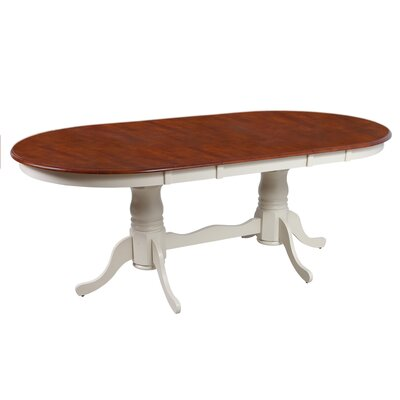 Bateson Extendable Oval Dining Table Finish: Buttermilk / Saddle Brown