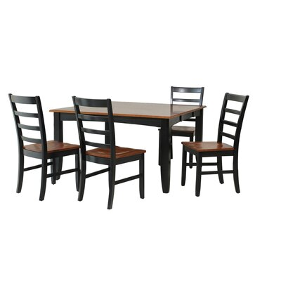 Wabasca 5 Piece Dining Set Finish: Black / Saddle Brown