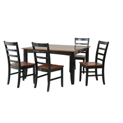 Wabasca 5 Piece Dining Set Finish: Black / Saddle Brown