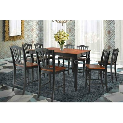 Onoway Counter Height Dining Table Finish: Black / Saddle Brown