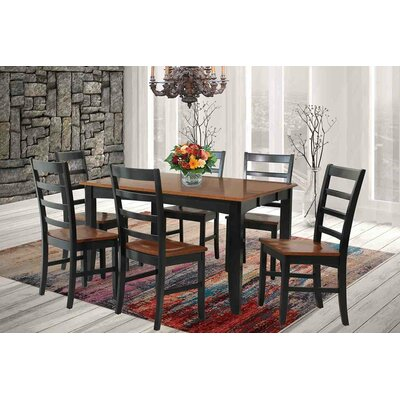 Wabasca Extendable Dining Table Finish: Black / Saddle Brown
