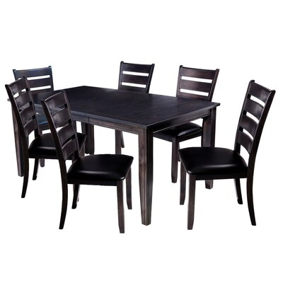 Aden 7 Piece Dining Set Finish: Dark Gray
