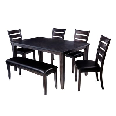 Aden 6 Piece Dining Set Finish: Dark Gray