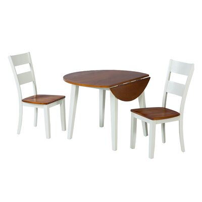 Caroline 3 Piece Dining Set Finish: Oak / White