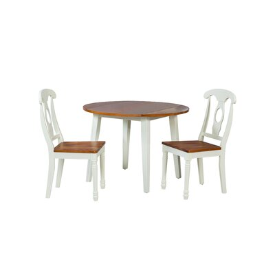 Caroline 3 Piece Dining Set Finish: Oak/White