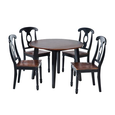 Caroline 5 Piece Dining Set Finish: Distressed Light Cherry / Black