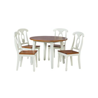 Caroline 5 Piece Dining Set Finish: Oak / White