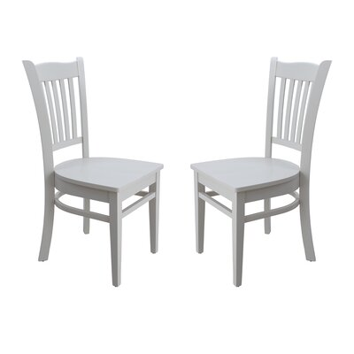 Two Sturdy Solid Wood Dining Chair Finish: White