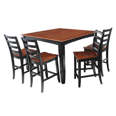Ryley 5 Piece Counter Height Dining Set Finish: Black/Saddle Brown