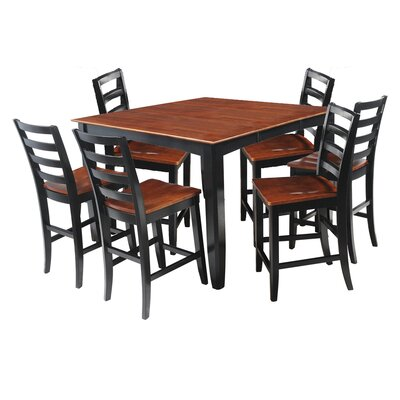 Ryley 7 Piece Counter Height Dining Set Finish: Black/Saddle Brown