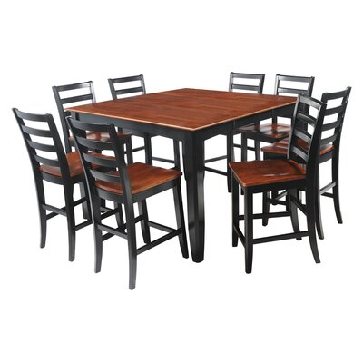Ryley 9 Piece Counter Height Dining Set Finish: Black/Saddle Brown