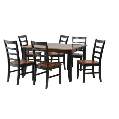 Wabasca 7 Piece Dining Set Finish: Black / Saddle Brown