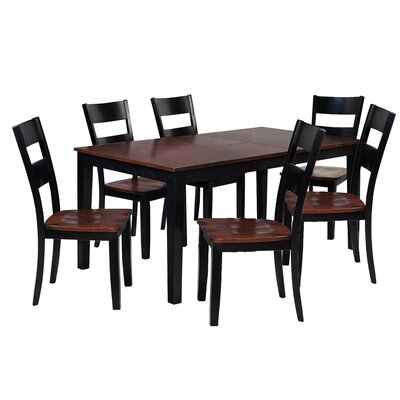 Boswell 7 Piece Dining Set Finish: Distressed Light Cherry / Black