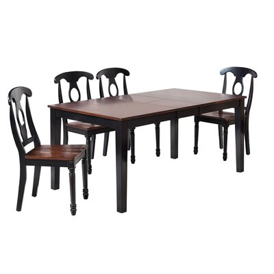 Boswell 5 Piece Dining Set Finish: Distressed Light Cherry / Black