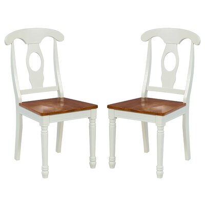 Two Sturdy Solid Wood Dining Chair Finish: Oak / White