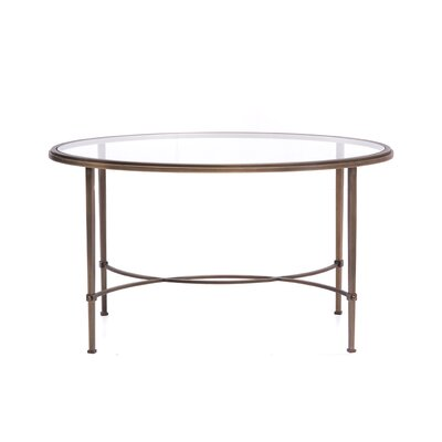 Oval Coffee Table with Tempered Crystal Glass Top