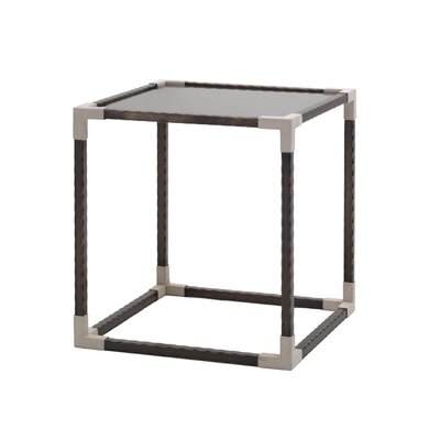 Smoked Tempered Glass Square End Table