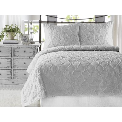 Wavy Ruffled 3 Piece Quilt Set Size: King, Color: Gray