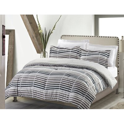 Swank Mod Heringbone 3 Piece Reversible Quilt Set Size: Full/Queen