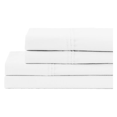 4 Piece 700 Thread Count Sheet Set Size: Queen, Color: Pure White
