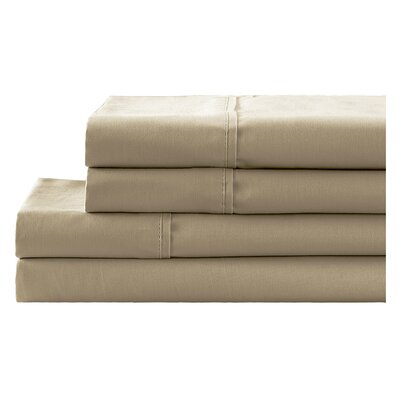 4 Piece 650 Thread Count 100% Cotton Sheet Set Color: Taupe