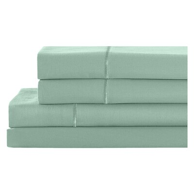 4 Piece 400 Thread Count 100% Cotton Sheet Set Size: Queen, Color: Dusky Green