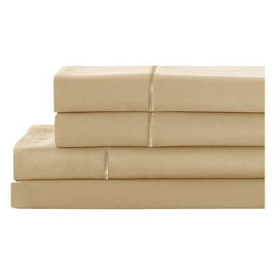 4 Piece 400 Thread Count 100% Cotton Sheet Set Size: King, Color: Cafe Latte