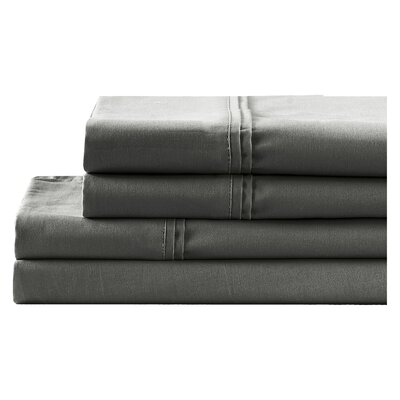 4 Piece 700 Thread Count Sheet Set Size: King, Color: Midnight Gray