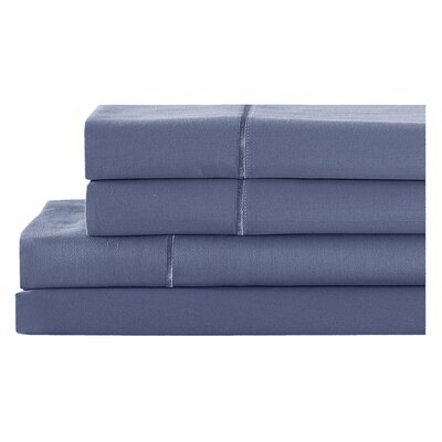 4 Piece 400 Thread Count 100% Cotton Sheet Set Size: Full, Color: Indigo Batik