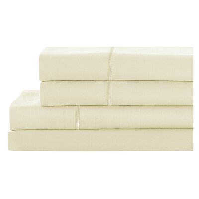 4 Piece 400 Thread Count 100% Cotton Sheet Set Size: California King, Color: Antique White