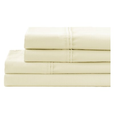 4 Piece 700 Thread Count Sheet Set Color: Cream, Size: Queen