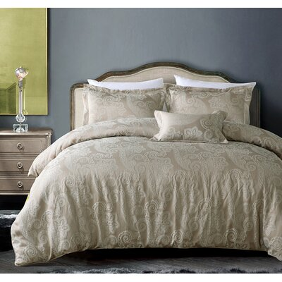 Hotel Paisley Luxe 3 Piece Duvet Cover Set Color: Royal Taupe, Size: King