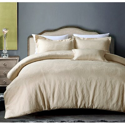 Hotel Paisley Luxe 4 Piece Comforter Set Size: King, Color: Champagne