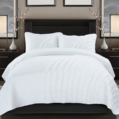 Cresent White 3 Piece Duvet Cover Set Size: King