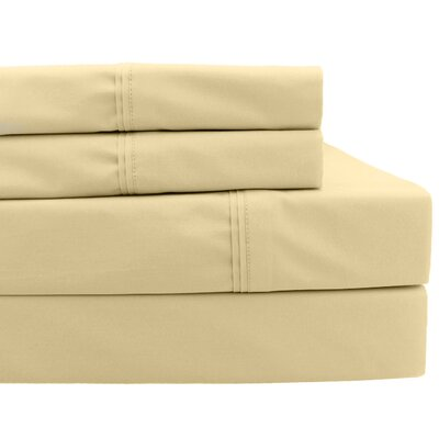4 Piece 700 Thread Count Sheet Set Size: Queen, Color: Pale Gold
