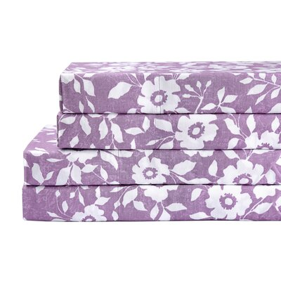 Bloom 4 Piece 200 Thread Count 100% Cotton Sheet Set Color: Purple, Size: King