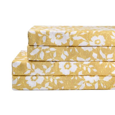 Bloom 4 Piece 200 Thread Count 100% Cotton Sheet Set Size: California King, Color: Gold