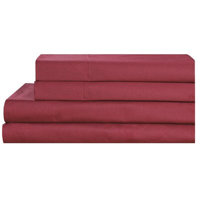 600 Thread Count 100% Cotton Pillowcase Size: Standard, Color: Burgundy