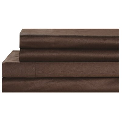 4 Piece 600 Thread Count 100% Cotton Sheet Set Size: King, Color: Chocolate