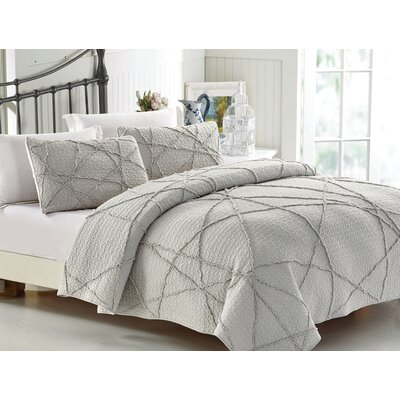 Crazy 3 Piece Quilt Set Size: King, Color: Light Gray
