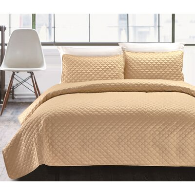 3 Piece Coverlet Set Size: King, Color: Charcoal